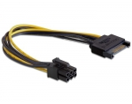 Delock cable Power SATA 15 pin > 6 pin PCI Express, 0,21m